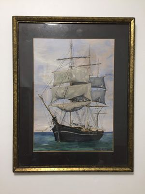 Picture of a sailboat in blue oceanic blue water with Siegel's flying around the sky for Sale in Queens, NY