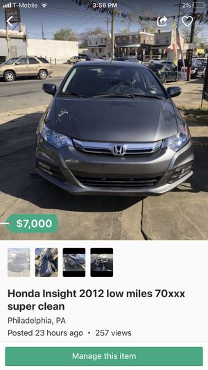 Honda Insight 2012 with only 70xxx miles for Sale in Philadelphia, PA