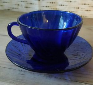 Vintage Cobalt Blue Glass France Vereco Teacup Coffee Saucer Set for Sale in Beaumont, CA