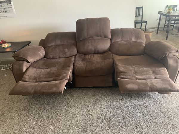 brown suede Electric Recliner large Sofa