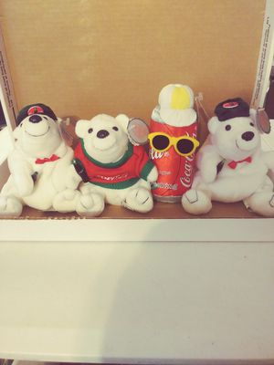 4 COLLECTABLE COCA COLA PLUSH DOLLS FOR SALE for Sale in Kennewick, WA