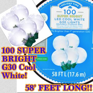 Christmas Navidad. 100 G-30 LED Cool White Lights. NEW/ NUEVO! -37ave & glendale for Sale in Glendale, AZ