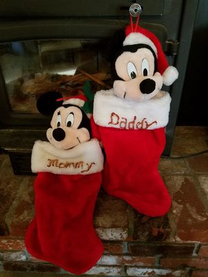 Vintage Disney Christmas Stocking Mickey and Minnie Mouse Written in them is Mommy and Daddy you can remove in VGC Price Firm for Sale in Oak Hills, CA