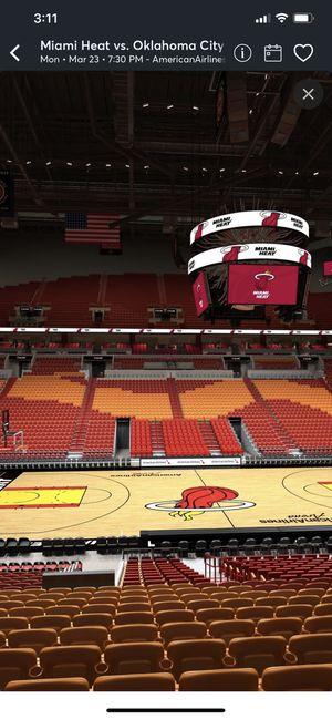 2 Miami Heat Tickets, Center Court Sec 107 Row 18 Seats 4&5 Vs OKC Thunder 3/23 7:30PM for Sale in Miami, FL