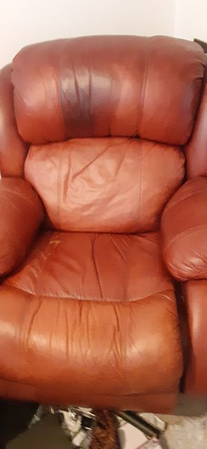 Free leather couches pick up 3 peices and one separate leather recliner chair will deliver for a small fee for Sale in Westminster, CO