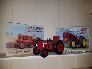 2 Allis-Chalmers Tin Tractor Signs & 1 Novelty Steel Tractor Decor for Sale in La Mesa, CA
