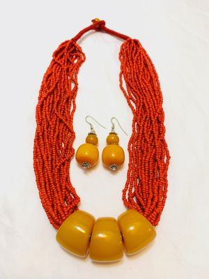 Beautiful red seed bead necklace sets for Sale in San Jose, CA