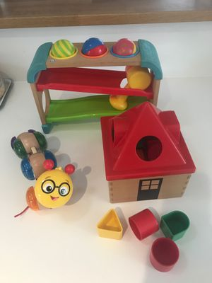 Baby wooden toys-Hape caterpillar, IKEA house shape, B kids pound & roll- $4 each for Sale in San Diego, CA