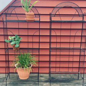 Mid century plant stand wire metal folding vintage antique apartment stands bookcase shelf shelves shelving for Sale in Cleveland, OH