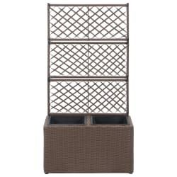 """Trellis Raised Bed with 2 Pots 22.8""""x11.8""""x42.1"""" Poly Rattan Brown for Sale in Plymouth, MA"""