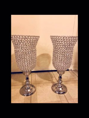 "Set of 2 new large 27"" tall crystal candle holder centerpiece click on my profile picture choose my offers for more listings inbox me for Sale in Gaithersburg, MD"