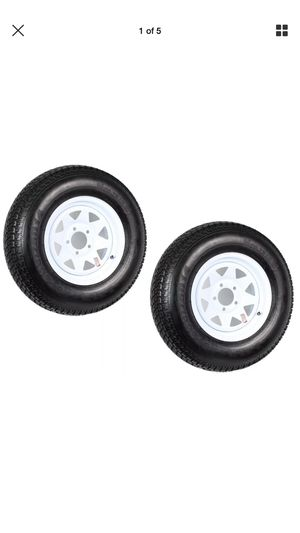 Two Trailer Tires Rims ST205/75D14 2057514 F78-14 14 in. LRC 5 Lug White Spoke for Sale in San Bernardino, CA