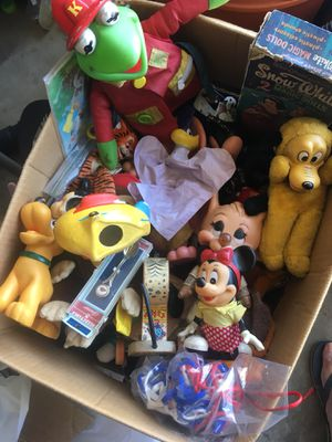 Box full of vintage Disney and other toys for Sale in Santa Ana, CA
