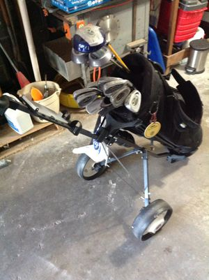 GolfClubs, bag and pull cart for Sale in Bettendorf, IA