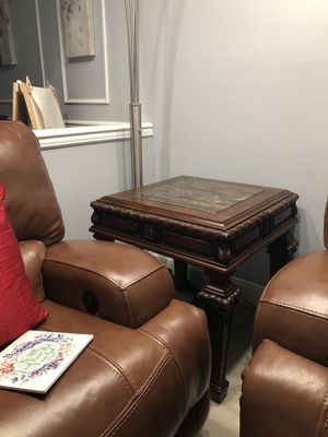 End Table with Real Wood and Granite for Sale in Ashburn, VA