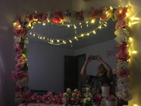 Antique mirror handmade flowers