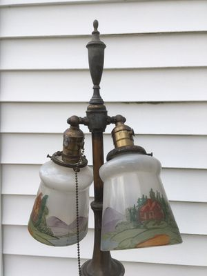Antique Brass Floor Lamp W Painted Globes for Sale in Quincy, MA
