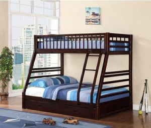 Columbus Day Special- [SPECIAL] Boise Espresso Twin over Full Bunk Bed with Storage for Sale in Houston, TX