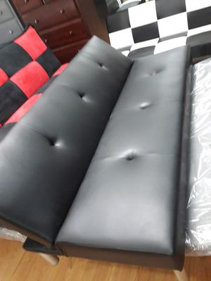 Futon black leather for Sale in Riverside, CA