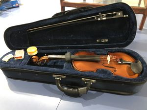 Children's violin with case, bow, rosin, and extra bridge for Sale in Northborough, MA