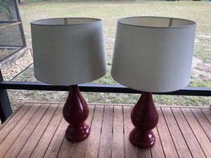 Beautiful red end table lamps, pair for Sale in Orlando, FL