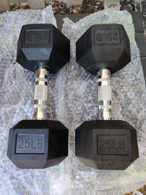 Brand New 25lb LB Rubber Hex Dumbbell Weight Set of 2 50lbs Total for Sale in Santa Ana, CA