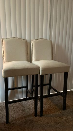 Pair of cream/studded barstools for Sale in Denver, CO