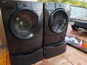 KENMORE ELITE BLACK WASHER AND ELECTRIC DRYER SUPERCAPACITY WITH PEDESTALS for Sale in Medley, FL