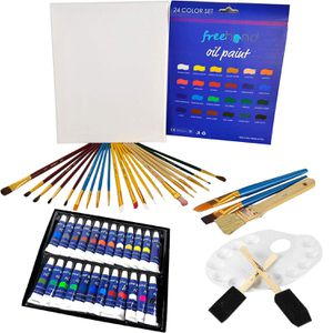 Deluxe Oil Paint Set - 24 Paints, 25 Brushes, 1 Canvas, and Art Palette - Oil Painting Supplies for Kids and Adults, Paint Supplies for Sale in Silverdale, WA