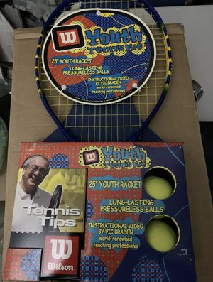 Wilson Youth Tennis Kit - Racket, Tennis Balls, And Instructional Video for Sale in Gaithersburg, MD