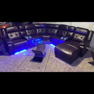 SECTIONAL BROWN 3pc Recline/LED $1400 for Sale in Plainfield, IL