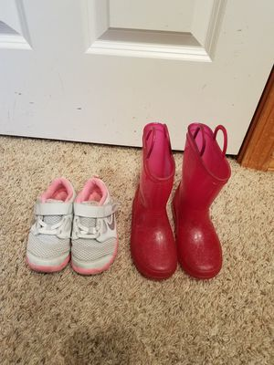 Toddler girl Nike shoes and rain boots Barbie size 9 prices for both for Sale in Everett, WA