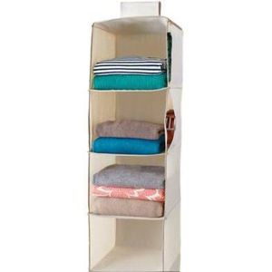 6 shelf hanging closet organizer- black/beige for Sale in Wilmington, DE