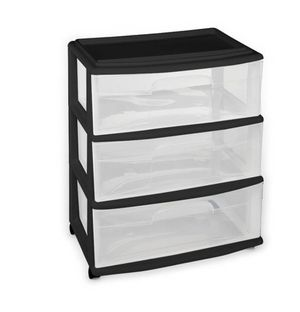 HOMZ Plastic 3 Drawer Wide Cart, Black Frame, Clear Drawers, 4 Casters included, Set of 1 for Sale in Las Vegas, NV