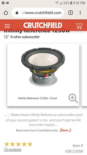 Infinity 1232w 12in. Dual voice coil subwoofer for Sale in Sioux Falls, SD