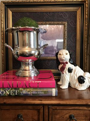 "How cute is this vintage, black and white dog with bow! He is 8.5"" tall and 8"" wide and currently looking for a home for Sale in Norcross, GA"