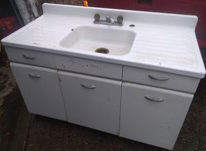 Vintage Mid-Century Porcelain-Coated Steel Kitchen Sink with Steel Base Cabinet for Sale in Indianapolis, IN