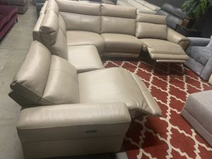 Raymere 5-Pc. Leather Sectional Sofa With 3 Power Recliners , Power Headrest, And USB Power Outlet, for Sale in Corona, CA