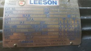 LEESON 20 HP MODEL#N256T17B1A 230/460 VOLTS RPM 1750 FRAM 256T AMPS 53-48/24 3PHASE for Sale in Hollywood, FL