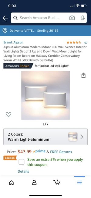Plaster wall light x2 for Sale in Dulles, VA