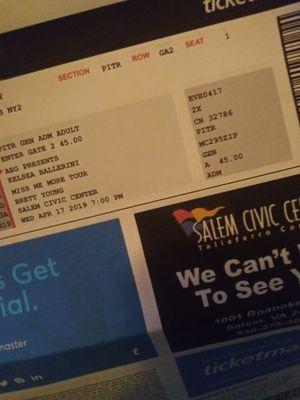 Kelsea ballerini pit tickets for sale for Sale in Roanoke, VA