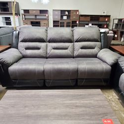 NEW, LEATHERETTE RECLINING SOFA, GRAY AND BLACK, SKU#TC9210288. for Sale in Westminster,  CA