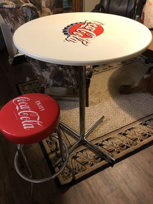 Coke table and stool nice bar height table and 1 stool nice for Sale in Nashville, TN