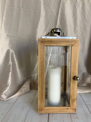 Wooden Lantern with Silver Handle for Sale in Colton, CA