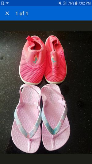 Toddler girl size 8 water shoes and flip flops for Sale in Eddington, PA