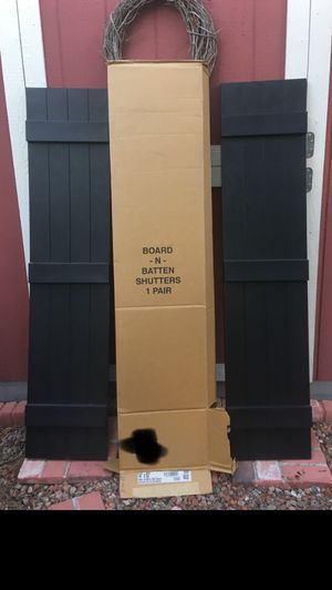 """🏡 Exterior Vinyl Shutters 🏡 14"""" x 63"""", Board and Batten style, $20/pr. (orig from Home Depot $75/pr) NEW!!! for Sale in Scottsdale, AZ"""