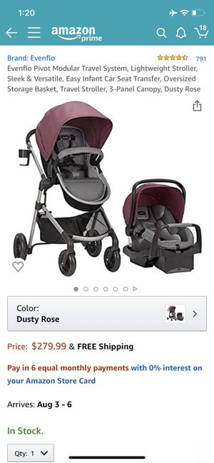 Evenflo Pivot Modular Travel System Pink Stroller and Carseat for Sale in Deltona, FL