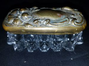 Collectable vintage copper lid glass bottom ( jewelry, snuff, trinket, powder ) box for Sale in Cedar Hill, MO