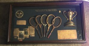 """The History Of The Tennis Racket Display Glass 21"""" X 11"""" for Sale in CT, US"""