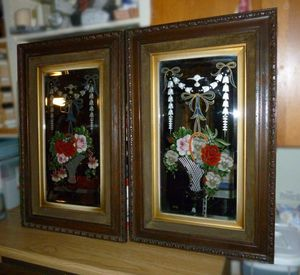 Mirrors antique etched and reverse painted set of two for Sale in Bothell, WA